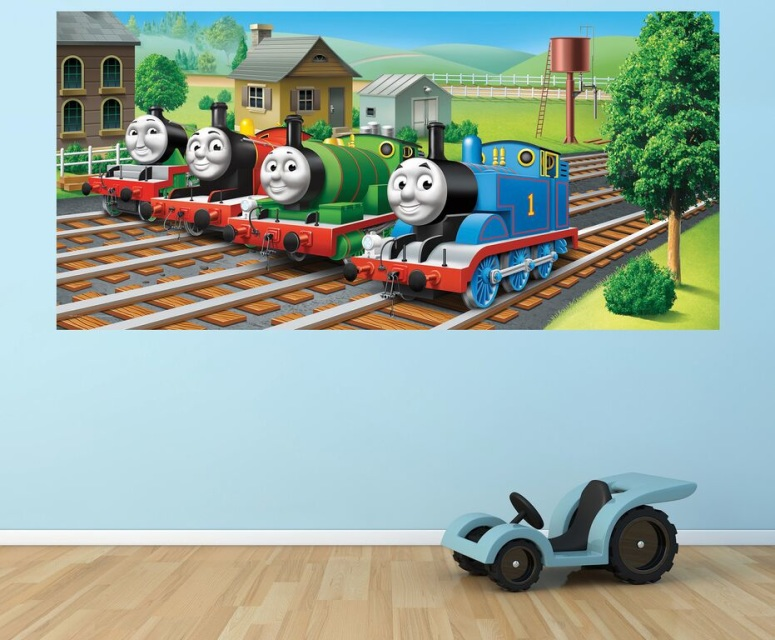 thomas and friends wall murals. Black Bedroom Furniture Sets. Home Design Ideas