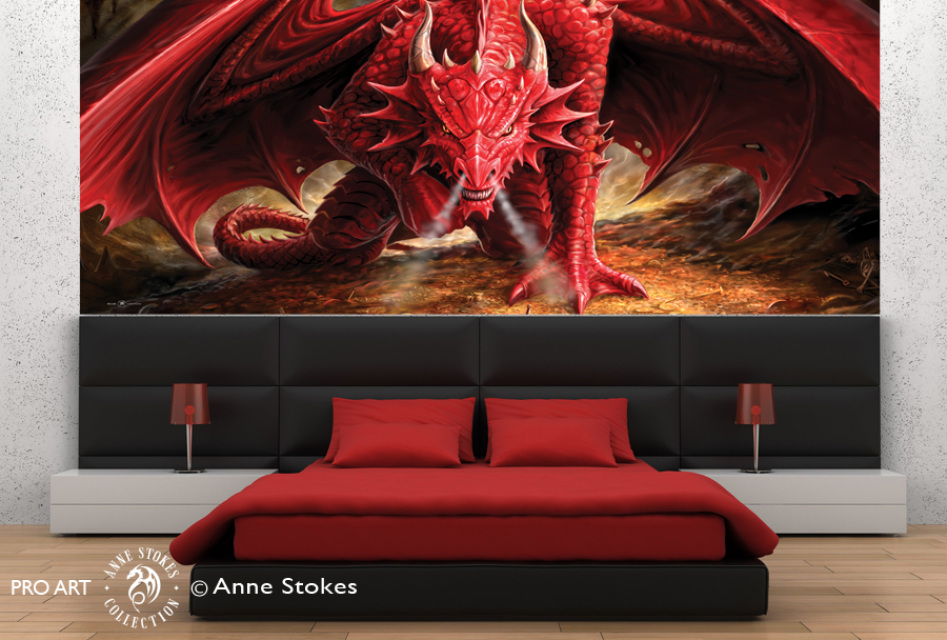 Anne stokes half wall murals for Dragon mural for wall