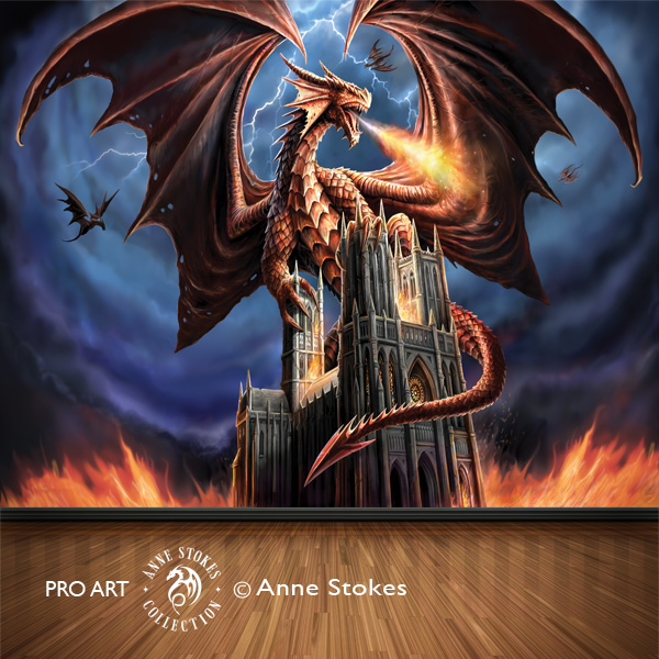Anne stokes full wall murals gt anne stokes dragon fury dgfasw001