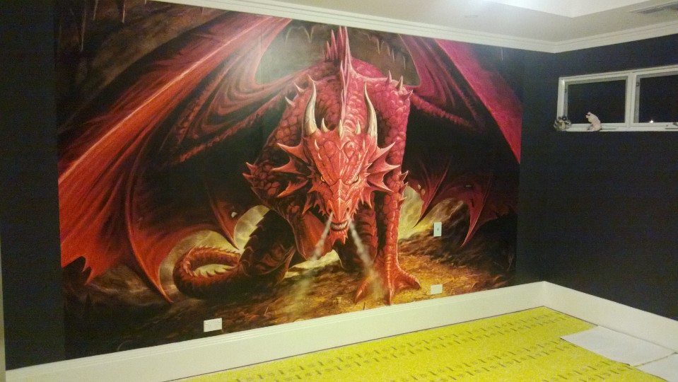 Anne stokes dragon 39 s lair dlasw001 for Dragon mural for wall