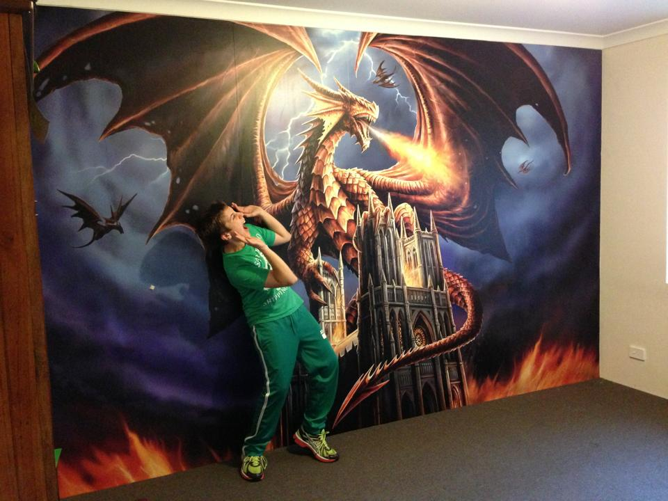 Anne stokes dragon fury dgfasw001 for Dragon mural for wall